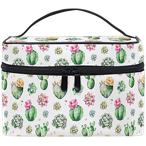 Vintage Natural Cactus Painting Makeup Bag Toiletry Brush Train Case Llevar Bolsas de Almacenamiento portátiles Box-12SH-N0W