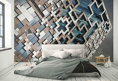 Vlies Fototapete Fotomural - Wandbild - Tapete - Gebäude Puzzle Fassade Fenster - Thema Architektur - XXL - 416cm x 290cm (BxH) - 4 Teilig - Gedrückt auf 130gsm Vlies - 1X-52310VEXXXXL