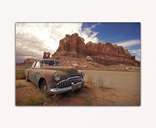 Su bilder24. de–cuadro de XXL verlassener Oldtimer en el Grand Canyon montañas sobre lienzo y bastidor, alta calidad, hecha a mano en Alemania., blau gelb weiß grün rot orange braun schwarz rosa, 70 x 110