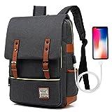 UGRACE Vintage Laptop Backpack with USB Charging Port, Elegant Water Resistant Travelling Backpack...