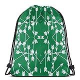 BXBX Plegable Drawstring Backpack Bag Sport Gym Sackpack Cinch Bag for School Yoga Gym Swimming Travel Unisex - Arrow Green