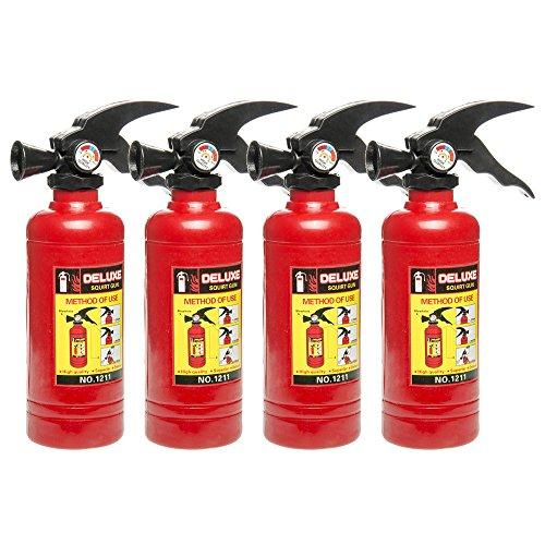 Schramm® 4 Stück Wasserpistolen Feuerlöscher ca. 18x5cm Wasser Pistole Wasserpistole Water Gun Watergun Feuerwehr Spritze