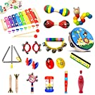 HapeeFun 24pcs Musical Instruments Toddlers Wooden Percussion Instrument Toys Gift for Baby, Child & Toddler with Storage Backpack