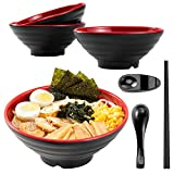 NJCharms Ramen bowls set 4 (16 Pieces), 37 oz Large Japanese Melamine Udon Noodle Bowls with Spoons, Chopsticks and Stands, Asian Chinese Large Soup Thai Miso Bowl