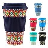 CasaBasics Taza de Café para Llevar en Bambú | Reutilizable, Biodegradable, Reciclable, Ecológica, Vegana | 450 ml / 15 oz | Adecuada para lavavajillas - Color: Ikat