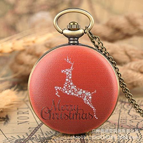 Orologio da Tasca A Catena Vintage,Patina Verde Rosso Fiocco di Neve di Natale Elk Numero Romano...