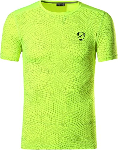 jeansian Hombre Camisetas Deportivas Wicking Quick Dry tee T-Shirt Sport Tops LSL185 GreenYellow M