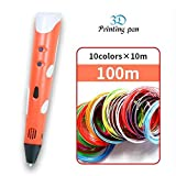 WZZUS 3D Pens 3 D Printing Pen with 10 Color 100 Meter ABS Filament Plastic Creative Gift for Design...