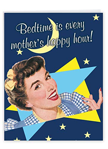 Bedtime Is Happy Hour - Funny Mother's Day Greeting Card with Envelope (Big 8.5 x 11 Inch) - Wine, Alcohol Retro Mothers Day Pun Card - Stationery Gift for Moms J0225