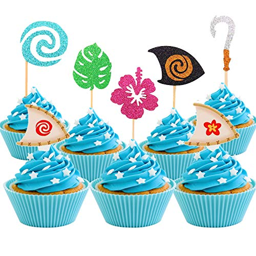 JeVenis 30 Stück Moana Inspiriert Cupcake Toppers Moana Cupcake Toppers Geburtstag Party Dekorati