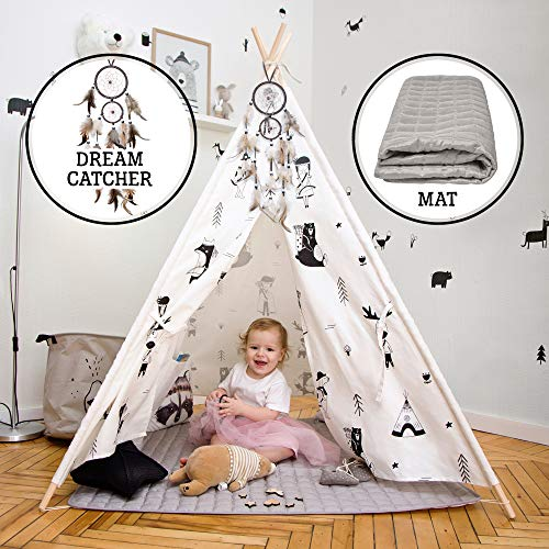 Hakuna Matte Kids Teepee Tent in a Stylish Scandinavian Design – Play Tent includes Padded Mat, Dream Catcher, Carry Bag – Tipi Tent is made from 100% Cotton & Pinewood Polls, EN71-Certified