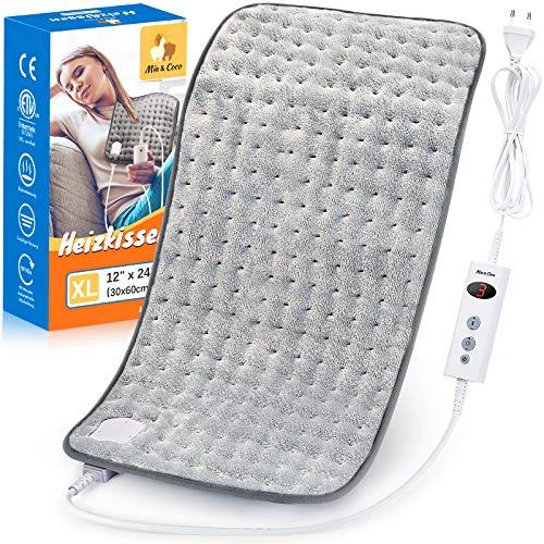 Heizkissen mit Abschaltautomatik 1,5 Stunden für Rücken Nacken Schulter Elektrisch Wärmekissen 3 Stufen Temperaturstufen Schnell Heiztechnik - Komfort Grau