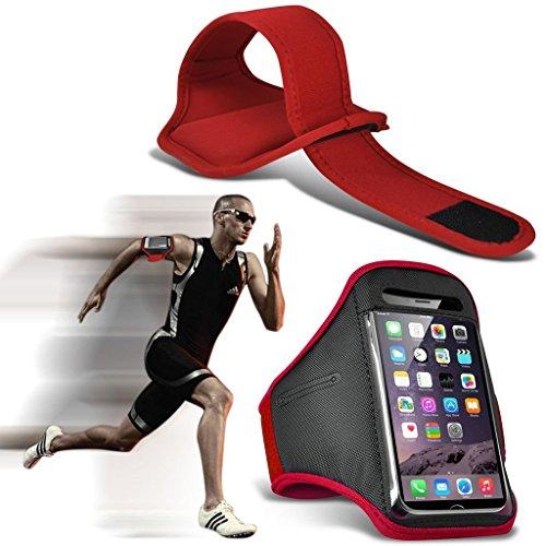 i-sonite Resistente al Sudor Ajustable/Resistente al Agua Deporte Fitness Running Ciclismo Gym Armband Phone Case for Meizu E2 Rojo