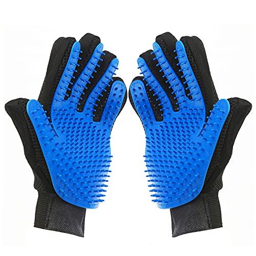 DHMAKER Haustier-Fellpflegehandschuh, Katzen handschuh,Handschuhe Hund,Katzen zubehör,Katzen Handschuhe fellpflege,fellpflegehandschuh Katze,Hund handschuh (Blau (1 Paar))