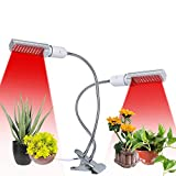 Tomshine 50W 100 LEDs Plant Light Full Spectrum Dual Heads 360° Goosenecks Grow Light for Indoor Plants, Replaceable E27/E26 Bulb