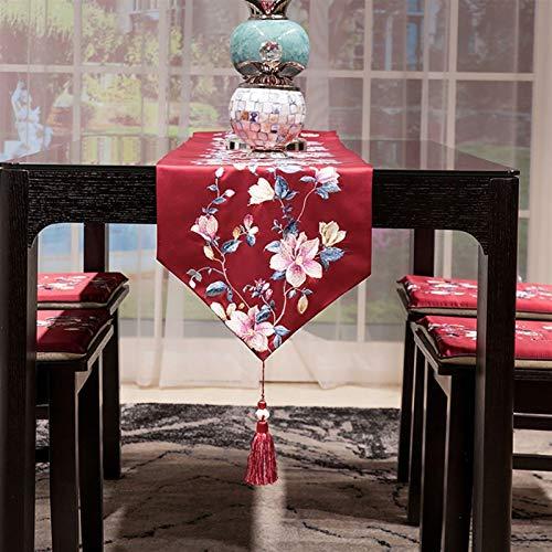 WENLI Camino de mesa simple hecho a mano para fiestas, cenas, vacaciones, cocina, Acción de Gracias, Navidad, 3 colores, decoración de Navidad y Año Nuevo (color: rojo, tamaño: 33 x 200)