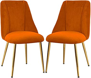 VEESYV Vintage Dining Chairs Set Non-Slip with Golden Sturdy Metal Legs Velvet Padded Seat Kitchen Chairs for Family Leisure