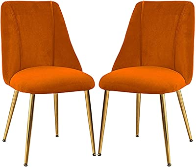VEESYV Vintage Dining Chairs Set Non-Slip with Golden Sturdy Metal Legs Velvet Padded Seat Kitchen Chairs for Family Leisure Living Room (Color : Orange, Size : 2pcs)