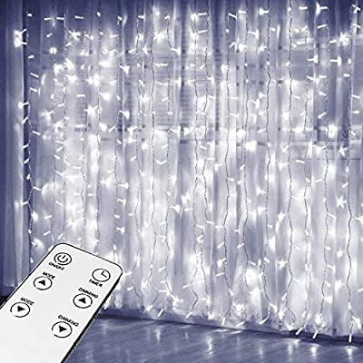JIAMAOWW Curtain Lights, Upgrade Window Fairy Lights 300 LED 9.8ft×9.8ft Remote Control Timer 8 Lighting Modes, Window Icicle Christmas Lights for Decoration Party Wedding Bedroom (Cool White)