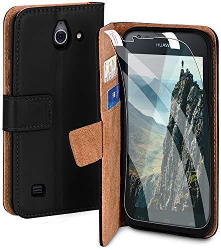 moex Handyhülle für Huawei Ascend Y550 - Hülle mit Kartenfach, Geldfach & Ständer, Klapphülle, PU Leder Book Hülle & Schutzfolie - Schwarz