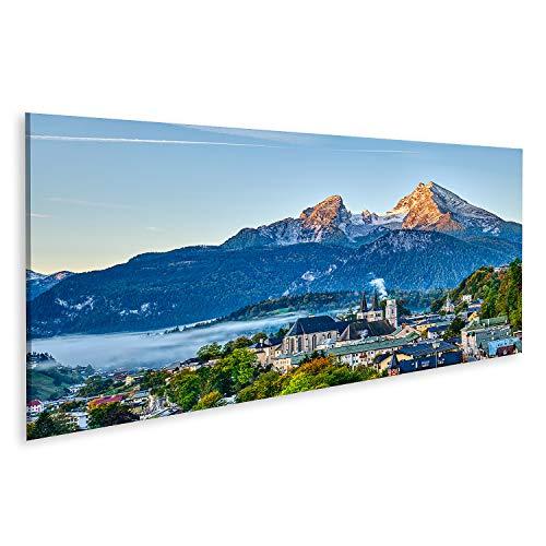 Bild auf Leinwand berg watzmann stadt berchtesgaden bayerische alpen Bilder Wandbild Poster Leinwandbild