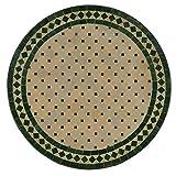 Casa Moro Mediterraner Gartentisch Mosaiktisch Ø 60 cm rund grün terrakotta mit Gestell Höhe 73 cm | Kunsthandwerk aus Marokko | Handmade Bistrotisch Mosaik-Beistelltisch Balkontisch | MT2027