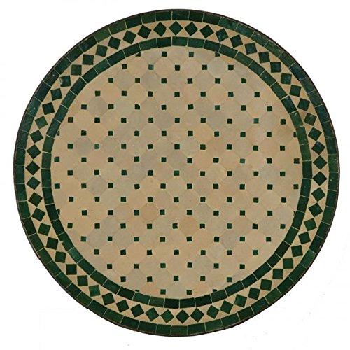 Mediterraner Gartentisch marokkanischer Mosaiktisch Ø 60 cm rund grün terrakotta mit Gestell Höhe 73 cm | Kunsthandwerk aus Marrakesch | Handmade Bistrotisch Mosaik-Kunst Balkontisch | MT2027
