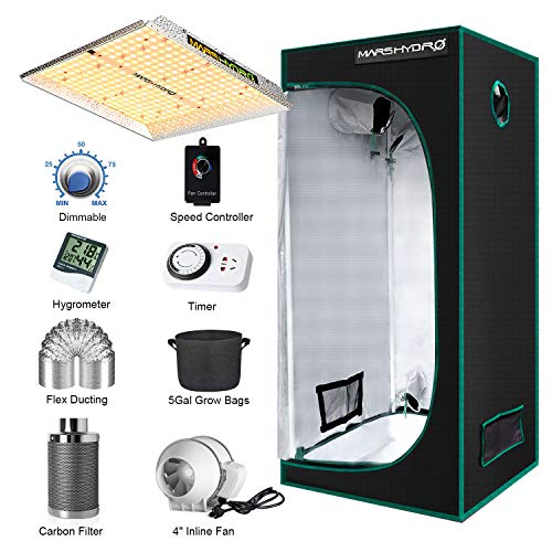 """MARS HYDRO TS 1000W Led Grow Light Complete Kit 3x3ft Full Spectrum Grow Tent Set, Indoor Tent Complete Kit with 4""""Filter Ventilation System for Indoor Growing (27""""x27""""x63"""" Tent 1680D Canvas)"""