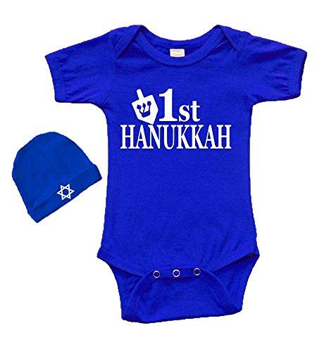 Short Sleeve Onesie & Cap Set - 1st Hanukkah (Royal, 0-3m)