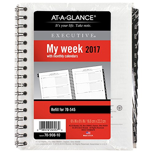 """AT-A-GLANCE Weekly / Monthly Appointment Book / Planner Refill 2017, for 70-545, 6-5/8 x 8-3/4"""", Executive (70-908-10)"""