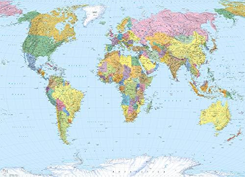 Komar - fotobehang WORLD MAP - 270 x 188 cm - behang, wand, decoratie, wandbedekking, wanddecoratie, muurdecoratie, landkaart, wereldkaart - 4-050