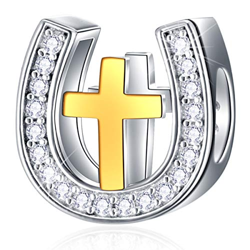 18K Golden Cross in Horseshoe Charms fits Pandora Women Bracelet, 925 Sterling Silver Horse Shoe Beads with Cubic Zirconia Stones, Good Luck Gifts for Mothers Day/Christmas