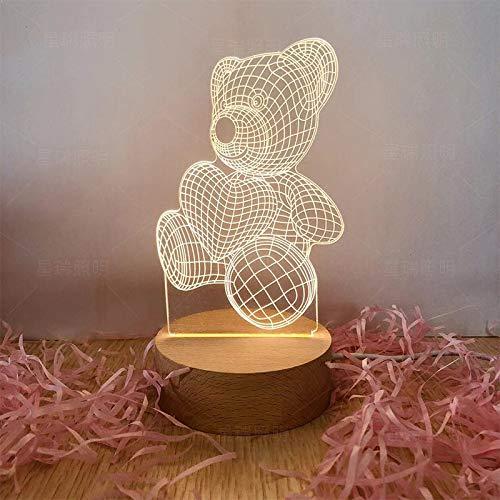 Luz de Noche Creativa led de Madera Maciza lámpara de Mesa 3D Regalos electrónicos de Boutique de Gama Alta Modelos de Enchufe de Tres Colores de Oso Hambriento al por Mayor (4W)