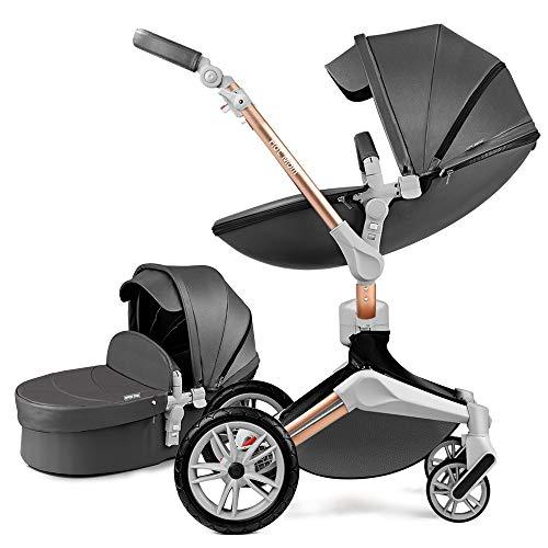 Hot Mom Silla de paseo Reversibilidad rotación multifuncional de 360 grados con buggy asiento y capazo 2020 Nueva actualización (Gris Oscuro) F023