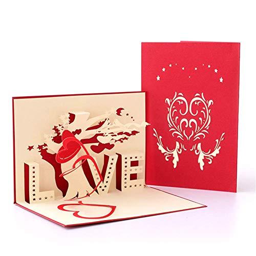 2pcs Karte zum Valentinstag, Geburtstagskarte Geschenkkarte Hochzeitskarten 3D Pop Up Grußkarte mit schönen Papier-Cut Für Valentinstag und Geburtstag des Liebhabers