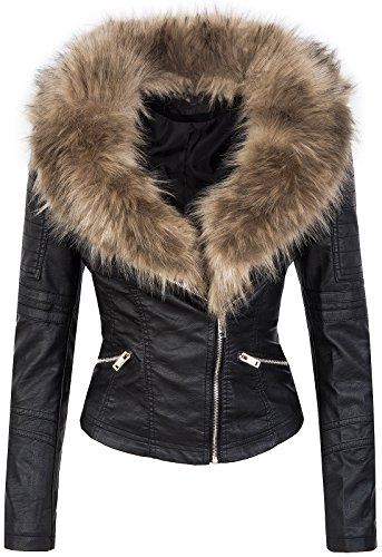 Rock Creek Selection Designer Damen Winter Jacke elegant Kunstfellkragen Übergangsjacke D-362 [WS-906 Schwarz XL]