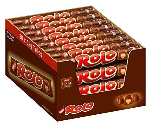 Nestlé Rolo, Schoko-Praline mit weichem Toffee-Kern, Leckere Karamell-Füllung, Multi-Pack, Menge: 36er Pack (36 x 52 g)