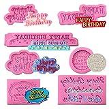7 PCS Happy Birthday Alphabet Fondant Mold Chocolate Candy Molds Letter Silicone Fondant Molds for DIY Cake Chocolate Candy Making and Birthday Party Cake Topper Decoration