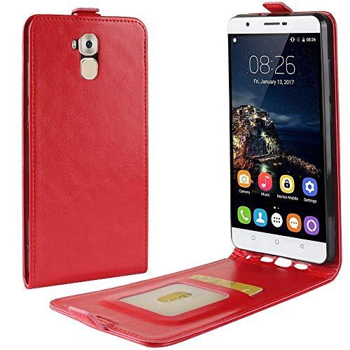 Sangrl Tasche Für Oukitel U16 Max, Hohe Qualität PU Leather Flip Hülle Soft Texture up & Down Open Tasche Ledertasche Rot