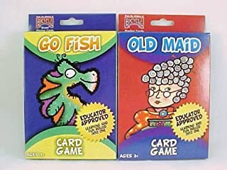 Bicycle 2 Pack Kids Card Games Go Fish and Old Maid Children Oversize Decks