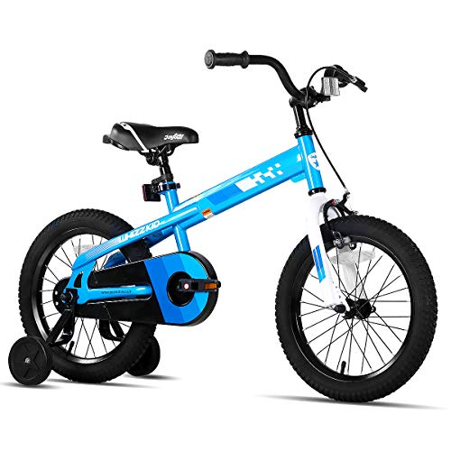 JOYSTAR 18 Inch Kids Bike with Training Wheels for Ages 6 7 8 9 Years Old Boys and Girls, Children Bicycle with Handbrake for Early Rider, Blue