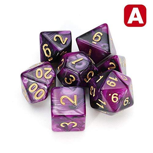 Fijnere 7-delige dobbelstenen set polyedrale DnD gemengde kleur dobbelstenen voor RPG kerkers en draken Rollenspel spelbordspel dobbelstenen set opbergtas, een paars zwart