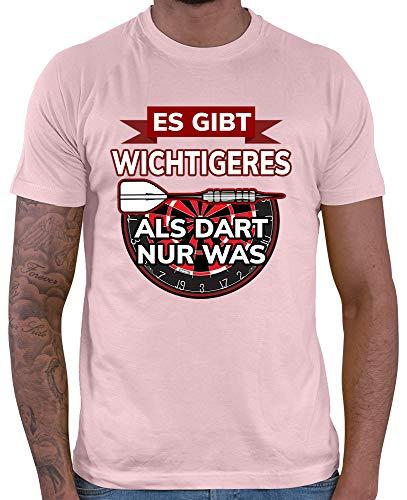 HARIZ Herren T-Shirt Es Gibt Wichtigeres Als Dart Nur was Dart Darten Dartpfeile WM Plus Geschenkkarte Rosa S