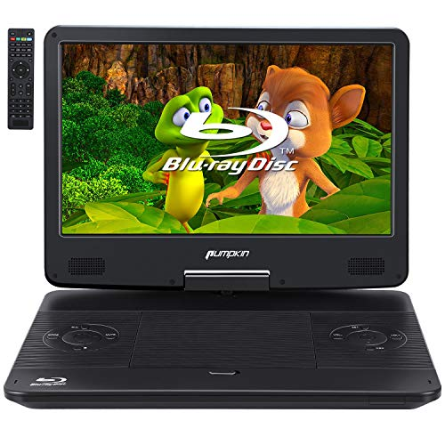PUMPKIN 14 Inch Portable Blu Ray DVD Player with HDMI In/Output,Built-in Rechargeable Battery Support 1080P MP4 Video, Sync Screen, AV Out/in, Dolby Audio, USB/SD Playback