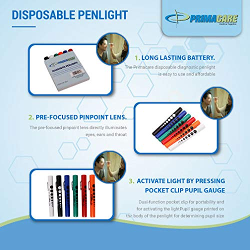 Primacare DL-9224 Disposable Diagnostic Penlight, Colored, 1/2' Diameter x 5' Length (Pack of Six) - Batteries Included