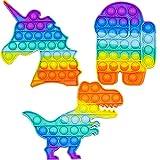 Pop its Fidget Toy – Juego de 3 juguetes de estrés Rainbow Poppets – Silicona sensorial Fidget Popper para la ansiedad y el autismo Aprendizaje Push Pop Bubble Toy Pack para niños y adolescentes
