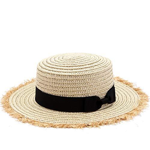 NJJX Sombrero De Paja Superior Plano Verano Primavera Gorras De Viaje para Mujer Ocio Perla Playa Sombreros para El Sol Negro Transpirable Moda Flor Niña Sombrero Adult56-58Cm Beige2