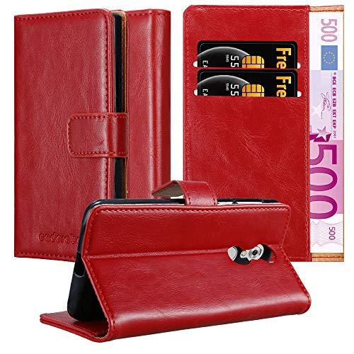 Cadorabo Hülle für ZTE AXON 7 Mini in Wein ROT – Handyhülle mit Magnetverschluss, Standfunktion & Kartenfach – Hülle Cover Schutzhülle Etui Tasche Book Klapp Style