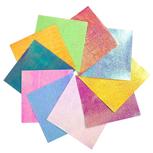 Papel Origami 100 hojas brillantes de una sola cara color arco iris cuadrado plegable