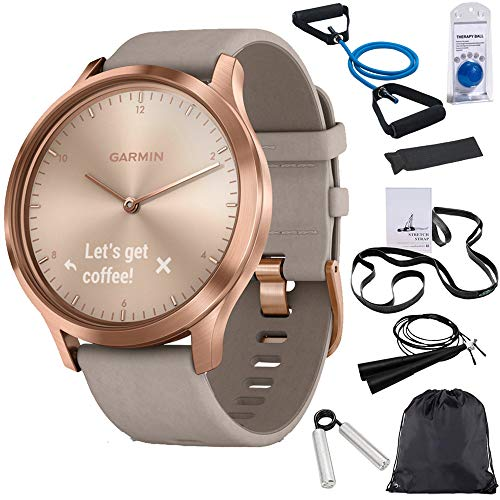Garmin Vivomove HR Premium Rose Gold w/Gray Suede Band + Extra Band Granite Blue (010-01850-19) with Deco Gear 7-Piece Fitness Kit